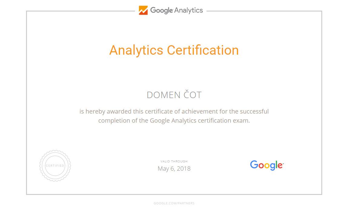 Google Analytics Certificate Domen Cot